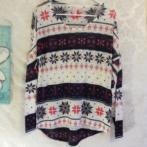 Sweater Christmas Aztec Snowflakes Med 7/9 Jrs